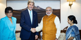 Kerry India Visit – Handshakes of different leaders